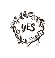 yes wreath doodle vector image vector image