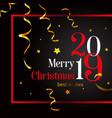 2019 merry christmas stylish card on a black vector image vector image