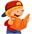 a boy reading a book vector image