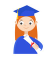 a graduate with a diploma vector image vector image