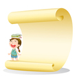 A smiling girl and a paper sheet vector image vector image