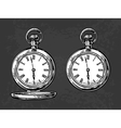 Antique pocket watch vintage engraved vector image vector image