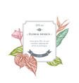 badge design with pastel gloriosa anthurium vector image vector image