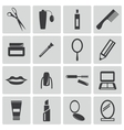 black cosmetics icons set vector image vector image