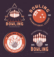 bowling tournament colored emblems vector image vector image