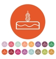 Cake with candles in the form of number 8 icon vector image vector image
