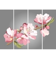 Card with blossoming oriental cherry branch vector image vector image