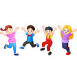 cartoon children jumping together vector image vector image