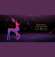 christmas new year retro 80s neon deer party card vector image vector image