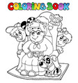 coloring book with grandma and kids vector image vector image