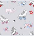 comic roller skates seamless pattern vector image