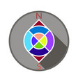 compass in color in a gray circle vector image vector image