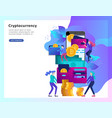 cryptocurrency and blockchain composition with vector image