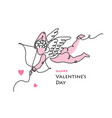 cupid amur line art card for valentines vector image