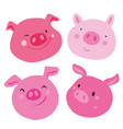 cute collection of four faces pink pig different vector image