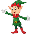 Cute green elf waving hand isolated on white back vector image