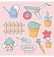 cute handdrawn doodle style garden stickers set vector image