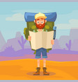 cute tourist male character holding a map hiking vector image vector image