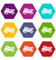 dump truck icon set color hexahedron vector image vector image