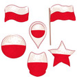 flag of the poland performed in defferent shapes vector image vector image