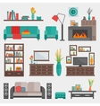 Flat Furniture Interior Icon Set vector image