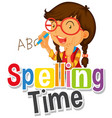 font design for word spelling time with girl vector image vector image
