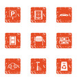 free parking icons set grunge style vector image