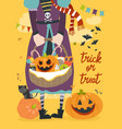 girl holding basket with pumpkin and sweets vector image vector image