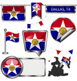 glossy icons with flag of dallas vector image vector image