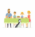 happy family having dinner together - modern vector image