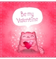 Happy Valentines card Cute cat with heart