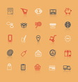 Internet entrepreneur line icons with reflect vector image
