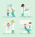 kids in pediatrics office flat set vector image vector image