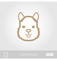 Lama outline thin icon Animal head symbol vector image
