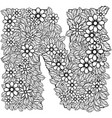 letter n dudling drawing mandala vector image
