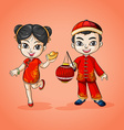 Man and woman from China vector image vector image
