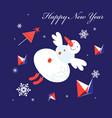 new year greeting card with a flying snowman vector image vector image