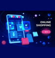online shopping landing page smartphone screen vector image