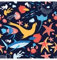 pattern with stingray and fish vector image vector image