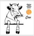 peeking cow - cheerful cow out - face head vector image vector image