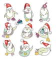 Penguin in christmas hat doodle vector image vector image
