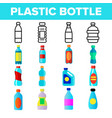 plastic water bottle linear icons set vector image
