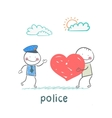 Police listen to a man in love vector image vector image