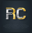 r and c - initials or gold and silver logo rc vector image vector image