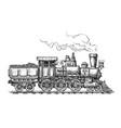 retro steam locomotive transport sketch hand vector image