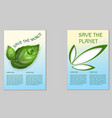 save the planet ecological poster vector image
