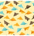 Seamless pattern of paper planes in flat design vector image