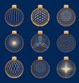 set of linear stylized golden christmas toys vector image vector image