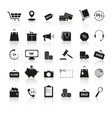 set shopping black icons reflection vector image
