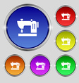 Sewing machine icon sign Round symbol on bright vector image